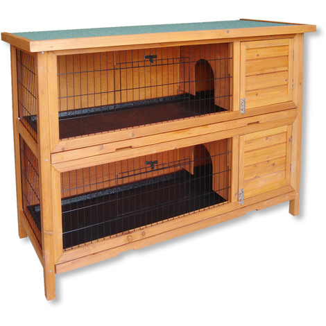 2-Story Rabbit Hutch Double Cage Pen Wooden Pet House