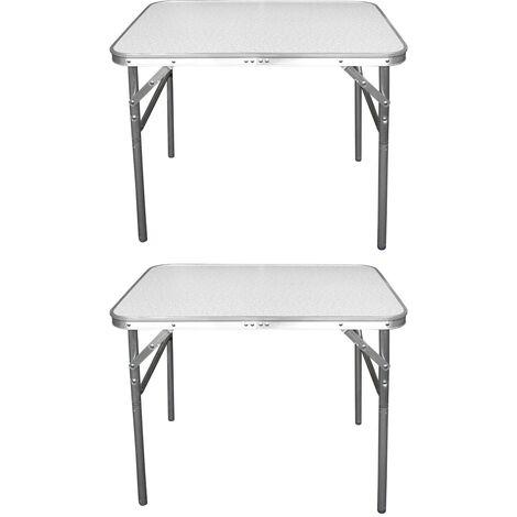 2 Stück Aluminium Klapptisch Campingtisch 75x55cm Gartentisch Beistelltisch Falttisch Picknicktisch Alutisch faltbar und höhenverstellbar