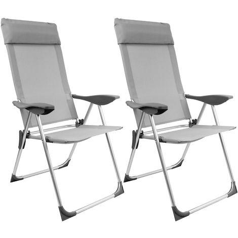 2 Stück Campingstuhl mit Kopfpolster, 2x1 Textilenbespannung, Lehne um 5 Positionen verstellbar, klappbar, Silber/Grau, Hochlehner Positionsstuhl Klappstuhl Gartenstuhl
