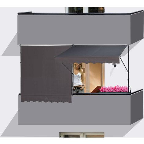 2 Stück Klemmmarkise 250x130cm GRAU Balkonmarkise Sonnenschutz Terrassenüberdachung Höhenverstellbar von 200-290cm Markise Balkon ohne Bohren