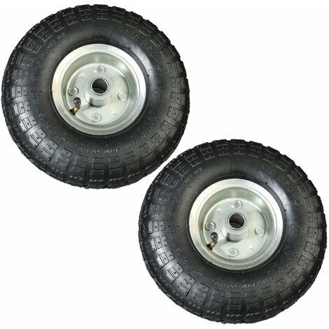2 Stück Luftrad 260mm schwarz Ersatzreifen für Schubkarre Sackkarre Reifen Rad 4.10-4 auf Stahlfelge