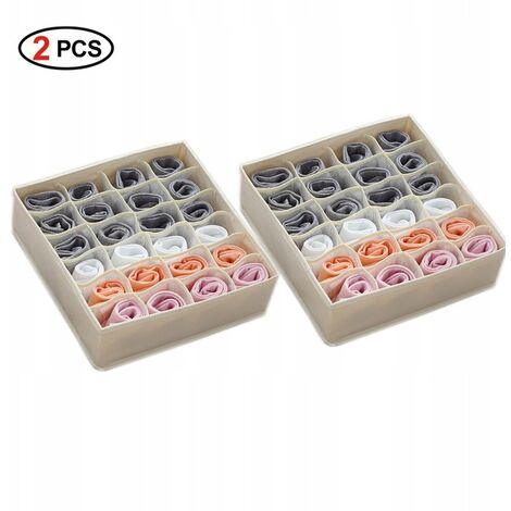 2 Stück Unterwäsche-Aufbewahrungsbox, Socken-Aufbewahrungsbox, Höschen-Aufbewahrungsbox, faltbar und waschbar, (32 * 32 * 10 cm) 24 Gitter beige