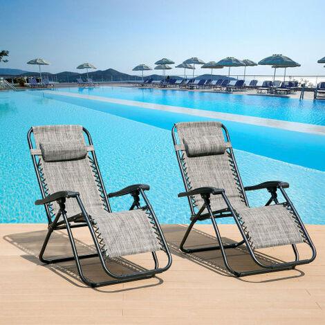 2 Sun loungers reclining sun lounger, sun chair, Zero Gravity Chairs, foldable sun lounger - Grey