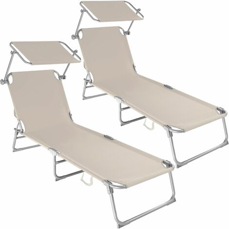 2 Sun loungers with sun shade - reclining sun lounger, sun chair, foldable sun lounger - beige