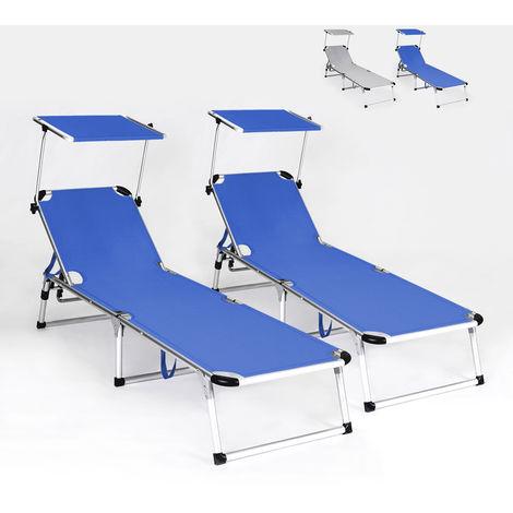 2 sunbeds for beach garden foldable aluminum set RHODES