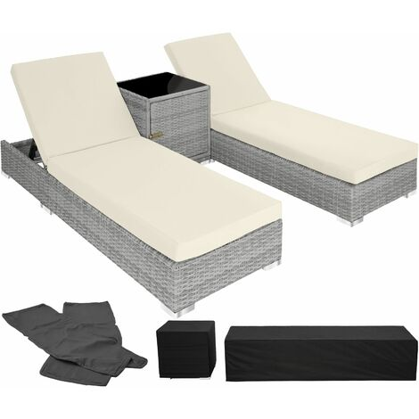 """main image of """"2 sunloungers + table with protective cover rattan aluminium - reclining sun lounger, garden lounge chair, sun chair"""""""