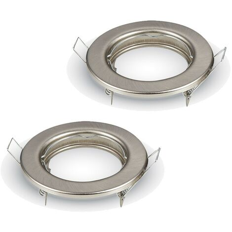 2 supports fixe GU10 Rond satin nickel