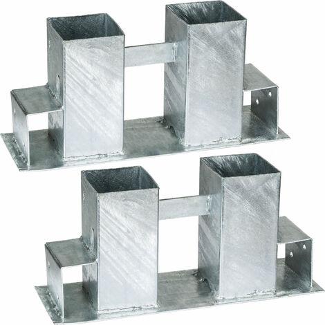 2 Supports Serre Bûche pour Empiler du Bois de Chauffage en Acier 34 cm x 10 cm x 15 cm Gris
