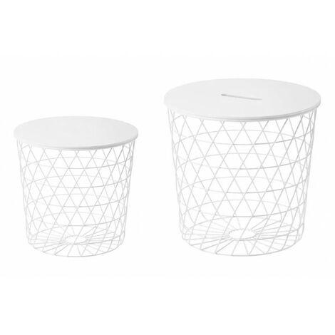 2 tables basses gigognes rondes métal blanc - Evy - Blanc