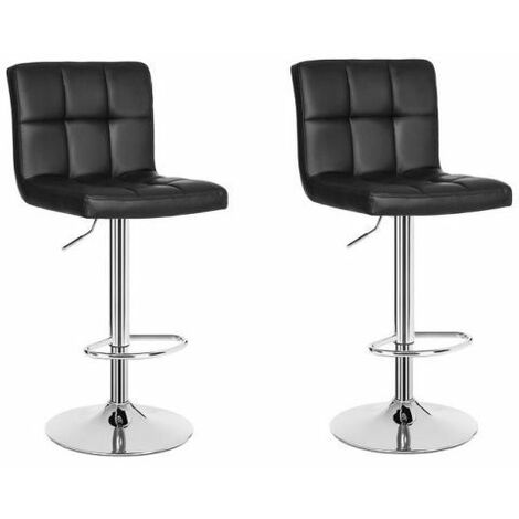 2 Tabourets carrés en éco-cuir chaise rembourrée bar cuisine pub couple mod. 105 couleur