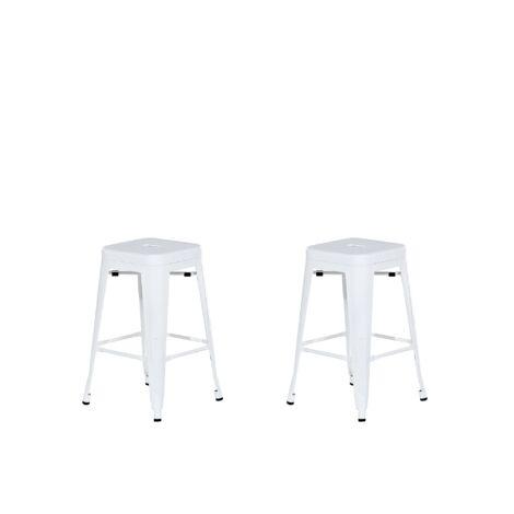 2 tabourets de bar blanc de 60 cm CABRILLO