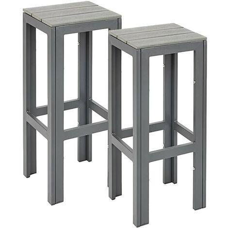 2 Tabourets de Bar Hauts d'Extérieur Cadre Métal Polywood Gris Mobilier Jardin - Grey