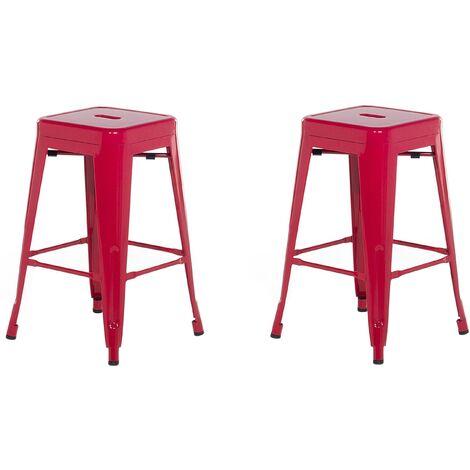 2 tabourets de bar rouge de 60 cm CABRILLO
