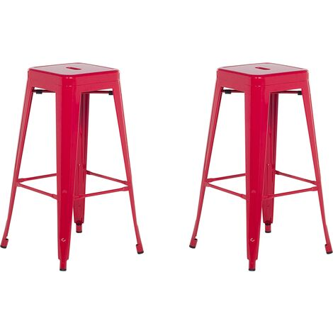2 tabourets de bar rouge de 76 cm CABRILLO