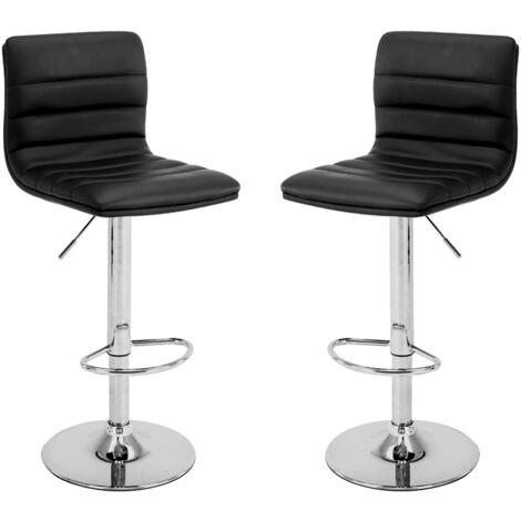 2 Tabourets en éco-cuir Chaise de bar rembourrée Chaise de cuisine Pub Couple Mod.109 Couleur Noir