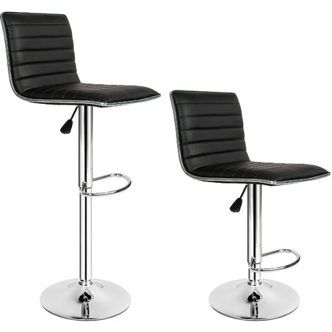 2 Taburetes de bar cuero sintético Johannes - taburete alto, taburete de piel sintética, asiento de cocina regulable - negro