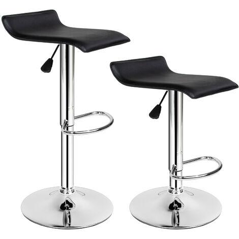 2 Taburetes de bar cuero sintético Lars - taburete alto, asiento de cocina regulable, banqueta de piel sintética - negro