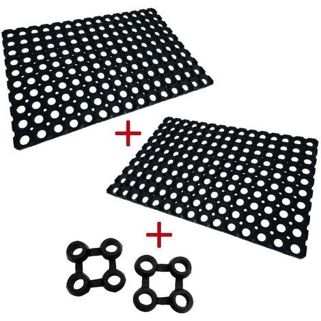 2 tapis caillebotis caoutchouc + connecteurs 60 x 80
