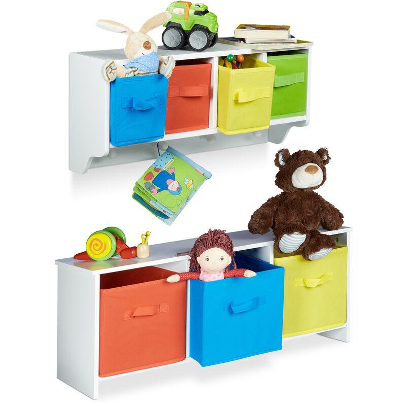 2 teiliges Kinderzimmer Aufbewahrungsset, Kindersitzbank mit Stauraum,  Wandregal Wandgarderobe, weiß mit bunten Stoffboxen