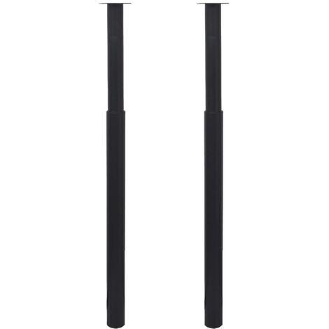 2 Telescopic Table Legs Black 710 mm-1100 mm