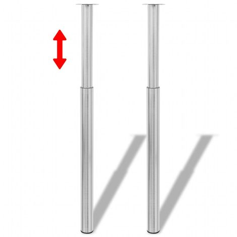 2 Telescopic Table Legs Brushed Nickel 710 mm-1100 mm