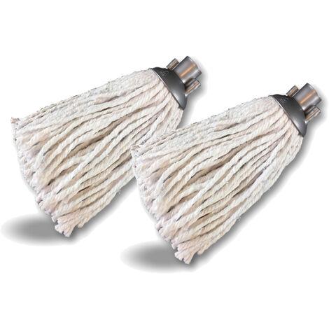 2 têtes serpillères à franges de rechange pour balais espagnols   Tête universelle à visser - Quantité x 6 - Franges pour balai espagnol