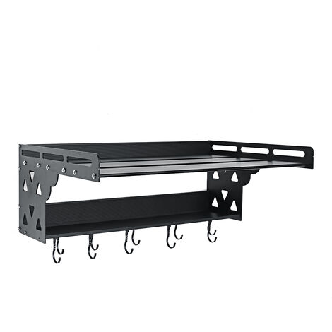 2 Tier 60x39x23cm Microwave Oven Shelf Storage Rack Wall-Mounted Kitchen Stand