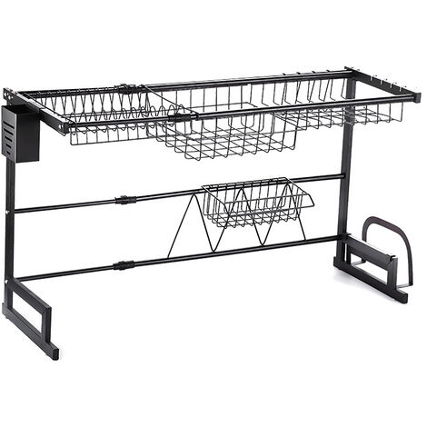 2 Tier Adjustable Dish Drying Rack (66-96)x31x54.5cm Black Display Stand Dish Drainer Kitchen Utensils Holder