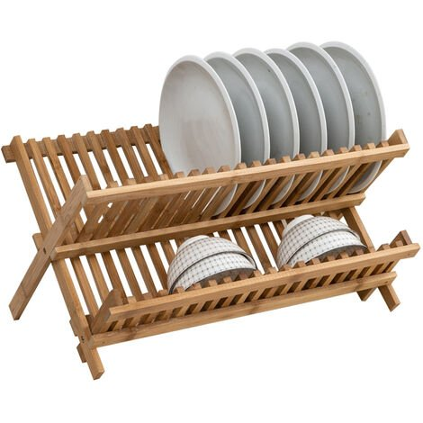 2 Tier Bamboo Dish Drainer Rack Folding Wooden Plate Stand Holder Kitchen Shelf