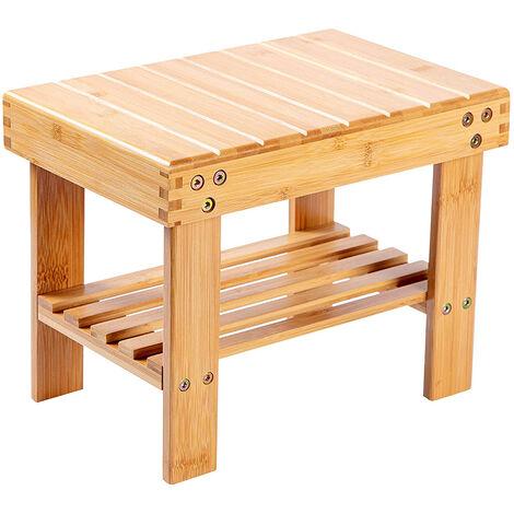 2-Tier Bamboo Shoe Bench for Kids, Small Shoe Rack Storage Organizer for Hallway Bathroom Living Room and Corridor (41 x 28 x 26 CM)