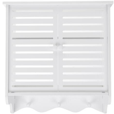 2-Tier Bathroom Wall Mount Shelf Shower Cosmetic Storage Closet Organizer Holder 37x20x40.8cm White