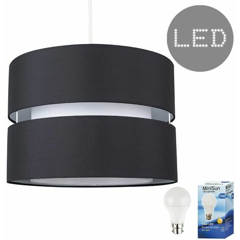 2 Tier Black & White Ceiling Pendant Light Shade - 10W LED Gls Bulb Warm White - Black