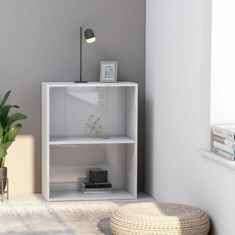 2-Tier Book Cabinet High Gloss White 60x30x76.5 cm Chipboard