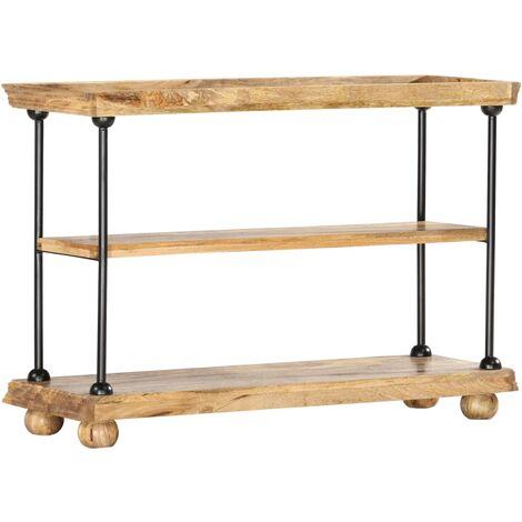 2-Tier Bookshelf 110x35x75 cm Solid Mango Wood and Steel - Brown