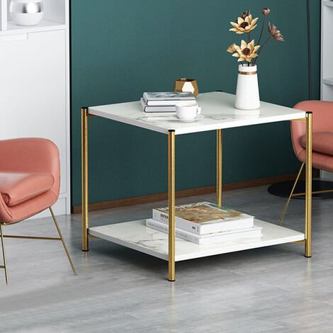 """main image of """"2 Tier Coffee Side Table Marble Effect Tea Table"""""""
