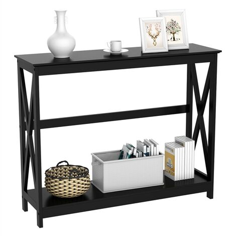 2-Tier Console Tables Side/End Table with Shelf X-Design Wooden Hall Desk for Living Room/Bedroom/Hallway Black, 101.5x30x81.3cm