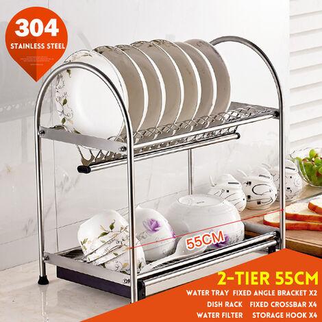 2 Tier Dish Drainer Rack Storage Dish Rack Kit Drip Tray Sink Drying Draining 55CM
