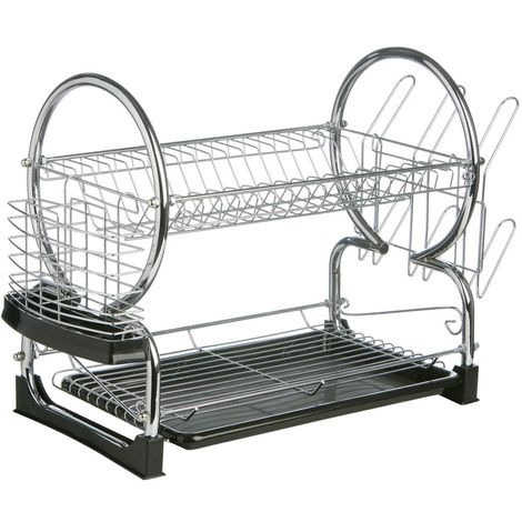 2 Tier Dish Drainer,Chrome/Black Plastic Tray,Glass and Utensil Holder/Removable Drip Tray