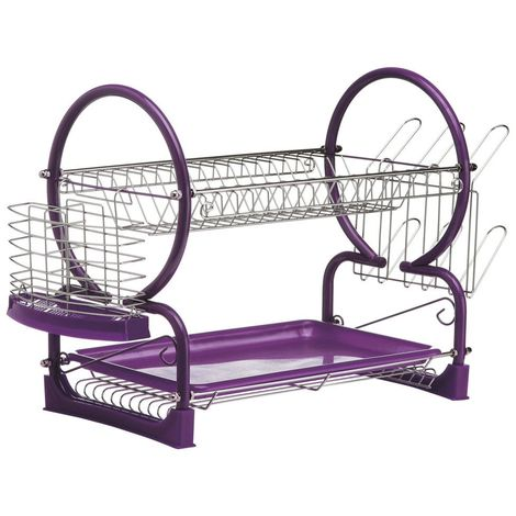 2 Tier Dish Drainer,Chrome/Purple Enamel Coated Frame,Glass and Utensil Holder/Removable Purple Plastic Drip Tray