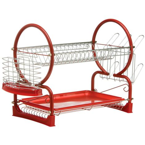 2 Tier Dish Drainer,Chrome/Red Enamel Coated Frame,Glass and Utensil Holder/Removable Red Plastic Drip Tray