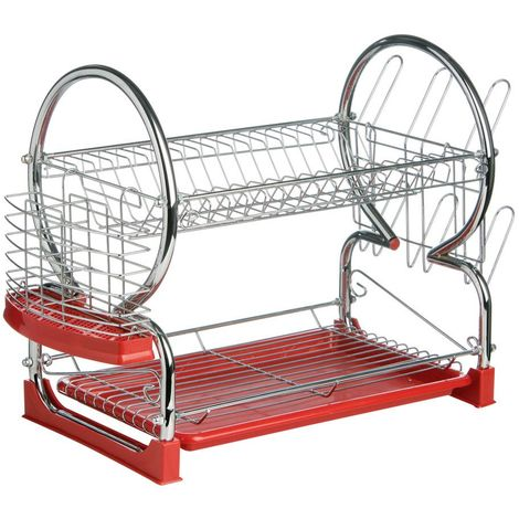 2 Tier Dish Drainer,Chrome/Red Plastic Tray,Glass and Utensil Holder/Removable Drip Tray