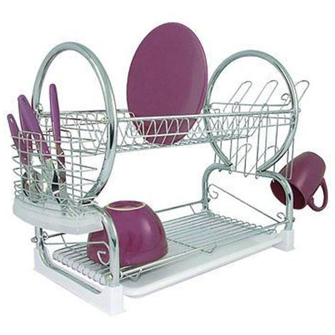 2 Tier Dish Drainer,Chrome/White Plastic Tray,Glass and Utensil Holder/Removable Drip Tray