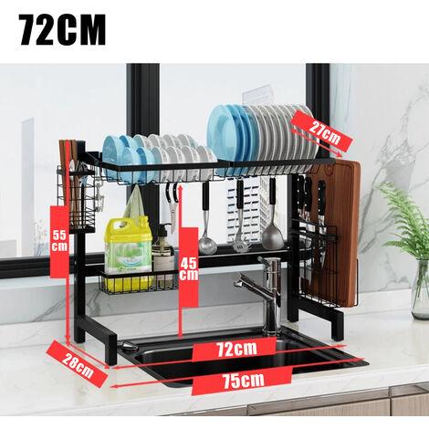 2-Tier Dish Drying Rack Organizer Stainless Steel Sink Rack 72*28*55CM Black