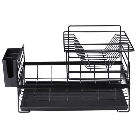 2-Tier Dish Rack Drain Drainer Board Kitchen Chrome Cup Dish Drying Plate Holder 48x29.5x27cm black