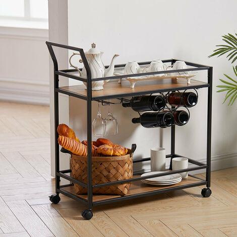 2 Tier Drinks Trolley Kitchen Serving Cart with Wine Bottle Storage Rack Wheeled