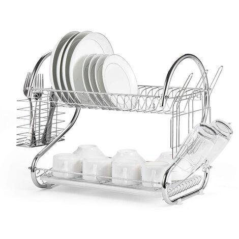 2 Tier Égouttoir Vaisselle Assiette Plat Écuelle Verre Support Cuisine Argent