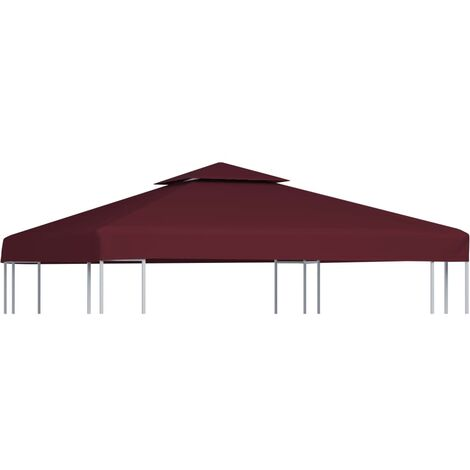 2-Tier Gazebo Top Cover 310 g/m² 3x3 m Bordeaux