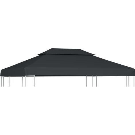 2-Tier Gazebo Top Cover 310 g/m² 4x3 m Anthracite