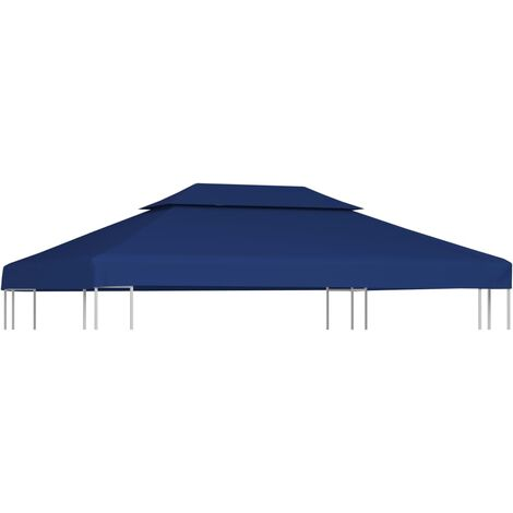 2-Tier Gazebo Top Cover 310 g/m² 4x3 m Blue