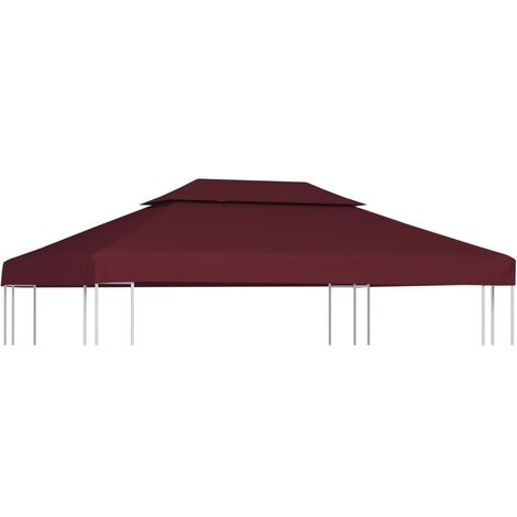 2-Tier Gazebo Top Cover 310 g/m² 4x3 m Bordeaux